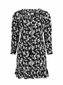 Monochrome Floral Print Tunic Dress, Black