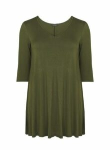 Khaki V-Neck Swing Tunic Top, Khaki