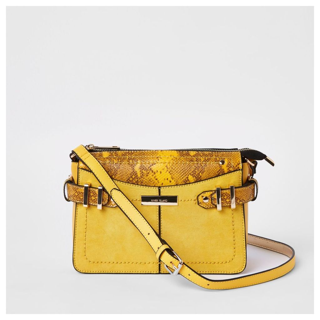 Womens Yellow snake print cross body bag