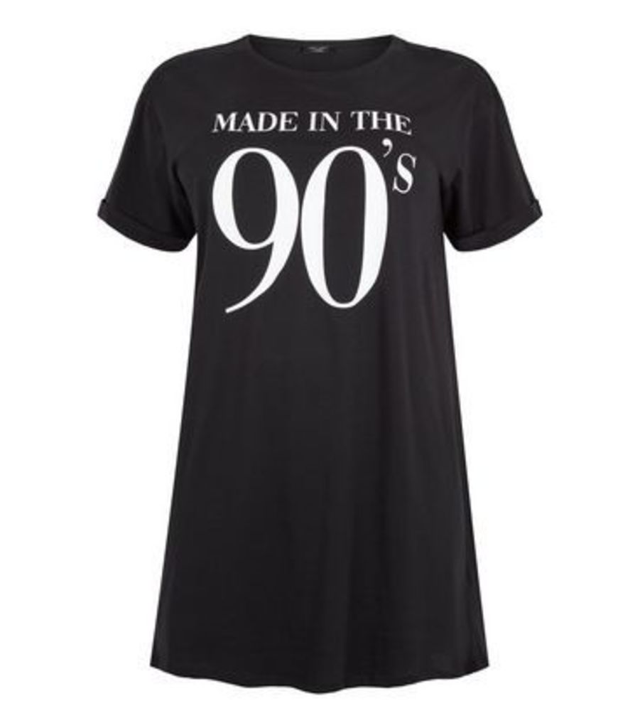 Curves Black Made In The 90's Slogan T-Shirt New Look