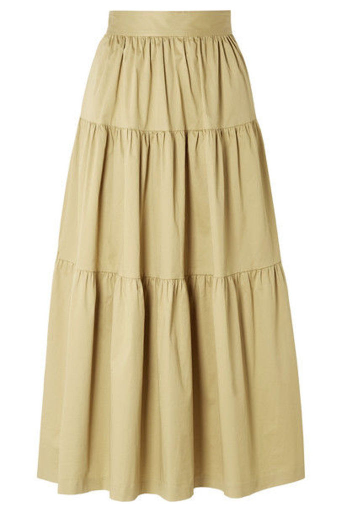 STAUD - Sea Tiered Stretch-cotton Poplin Midi Skirt - Sand