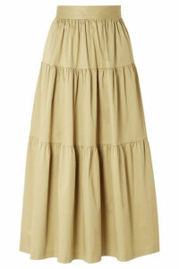 STAUD - Sea Tiered Stretch-cotton Poplin Midi Skirt - Sand