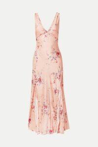 LoveShackFancy - Kendall Ruffled Floral-print Silk-satin Maxi Dress - Pink