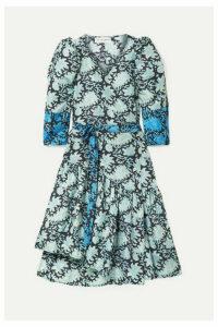 APIECE APART - Bougainvillea Printed Silk-satin Wrap Dress - Azure