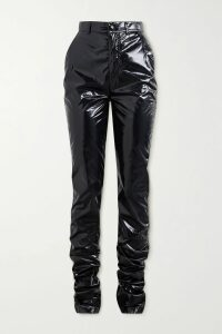 Les Rêveries - Asymmetric Ruffled Floral-print Silk-crepe Wrap Dress - Black