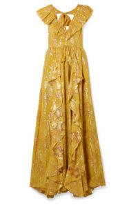 Ulla Johnson - Demetria Ruffled Metallic Fil Coupé Silk-blend Gown - Mustard