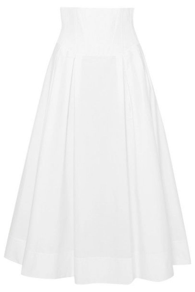 Gabriela Hearst - Corrales Pleated Cotton-poplin Midi Skirt - Ivory