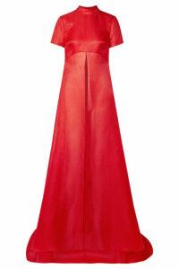Brandon Maxwell - Asymmetric Textured Silk-gazar Top - US2