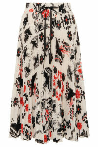 REDValentino - Pleated Printed Crepe Midi Skirt - White