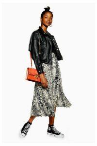 Womens Zebra Belted Pleated Midi Skirt - Monochrome, Monochrome