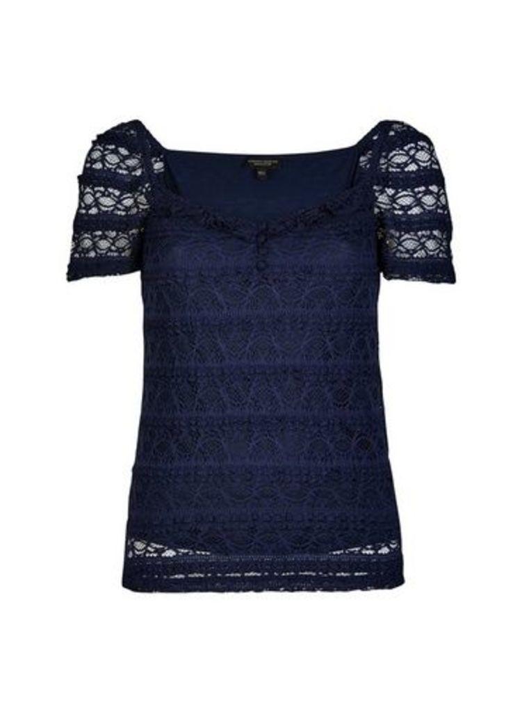 Womens Navy Milkmaid Ruffle Lace Top- Blue, Blue
