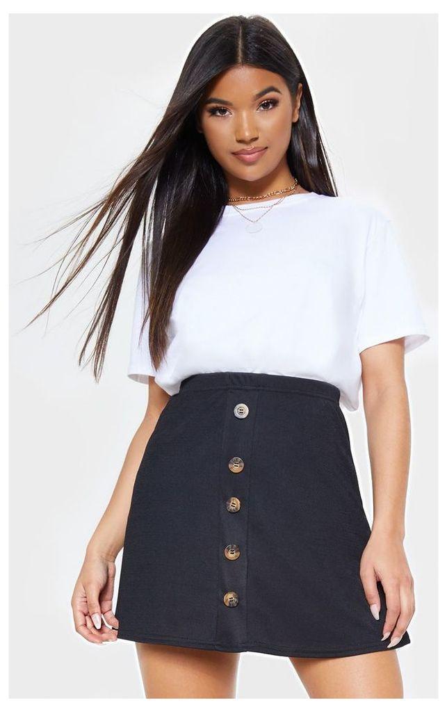 Black Button Front A Line Skirt, Black