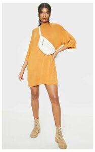 Mustard Oversized Boyfriend T Shirt Dress, Mustard