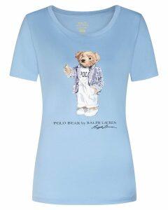 Polo Ralph Lauren T-shirt In Cotone Azzurra, Disegno E Logo Frontali. 211750405002