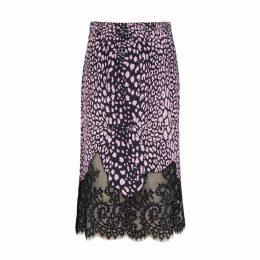 McQ Alexander McQueen Leopard-print And Lace Midi Skirt