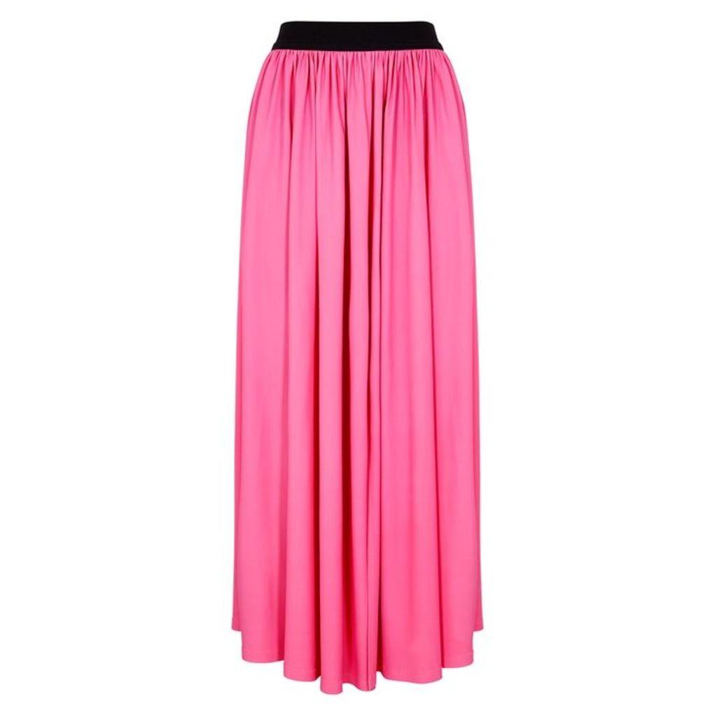 MSGM Pink Pleated Stretch-viscose Midi Skirt