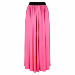 MSGM Pink Pleated Stretch-viscose Midi Skirt