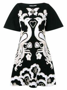 Valentino swan intarsia knit dress - Black