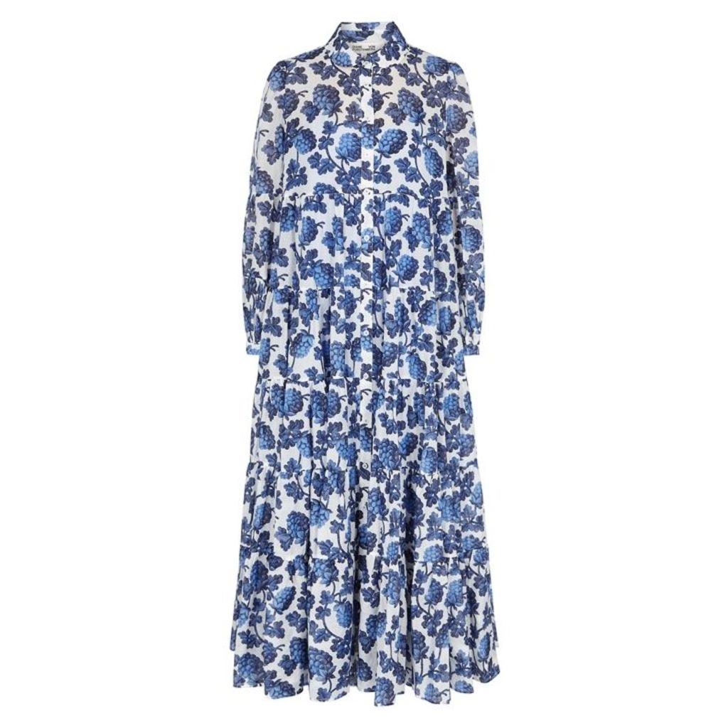 Diane Von Furstenberg Kiara Printed Cotton-blend Maxi Dress