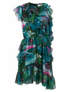 MSGM ruffle-trim asymmetric dress - Green