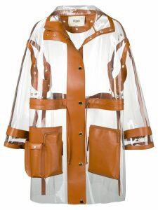 Fendi leather trim see-through raincoat - Brown
