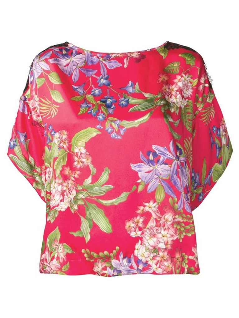Liu Jo lace trim floral top - Red