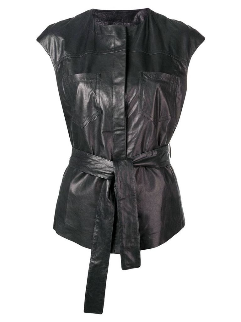 Drome belted leather waistcoat - Black