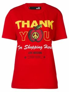 Love Moschino 'thank you for shopping here' printed T-shirt - Red