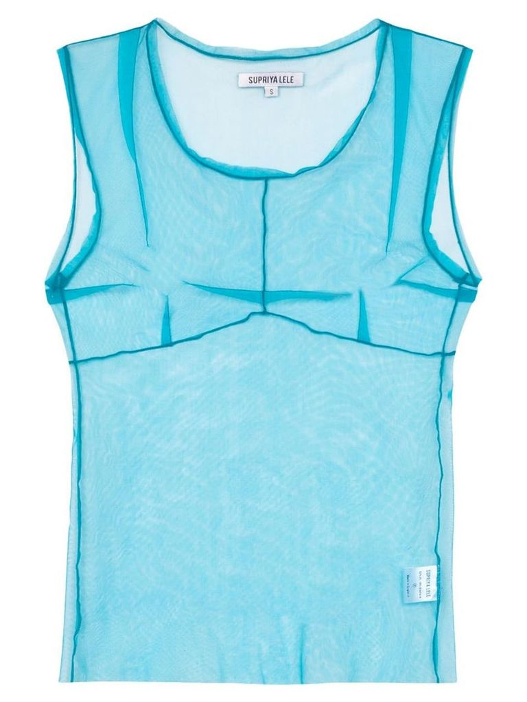 Supriya Lele Saree sheer-mesh vest top - Blue