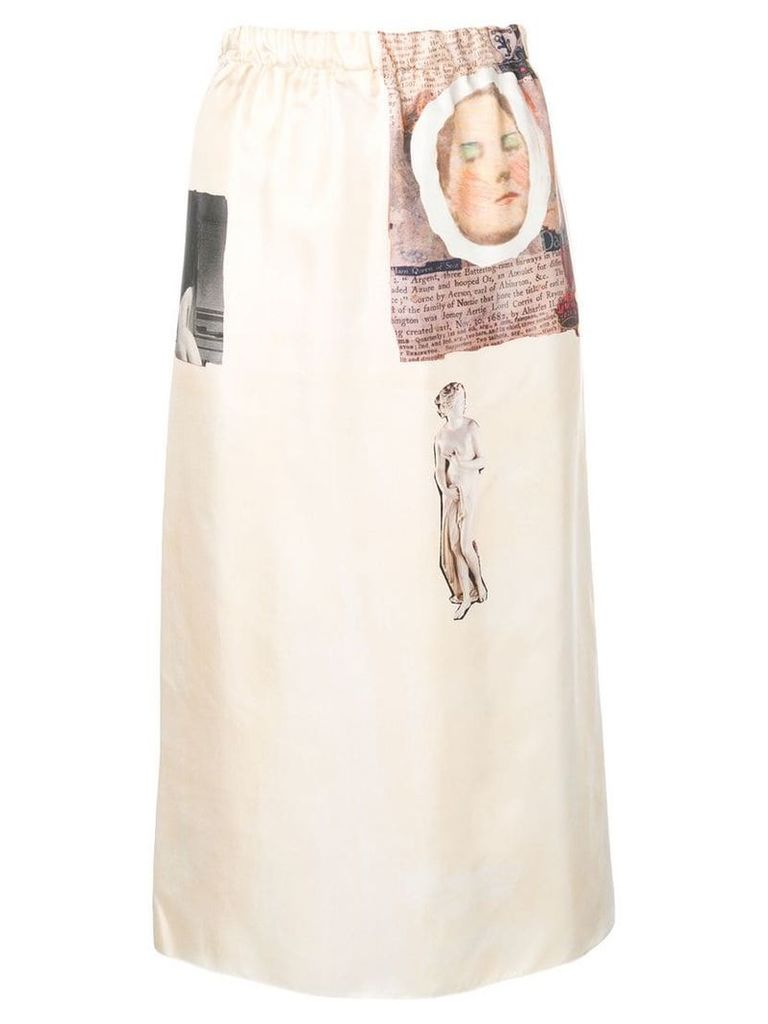 Marni artistic patch midi skirt - Neutrals