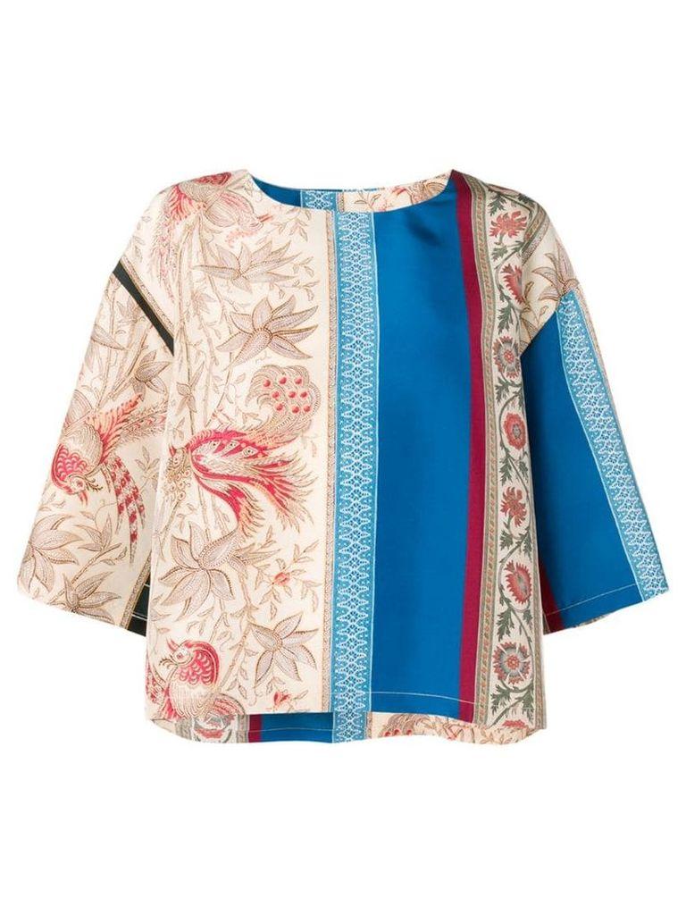 Pierre-Louis Mascia floral scene drape T-shirt - Neutrals
