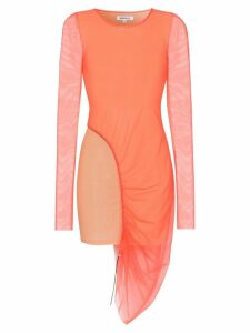 Supriya Lele ruched asymmetric mesh and jersey dress - Orange