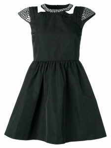 Red Valentino rhinestone embellished twill dress - Black