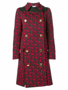 Prada printed double-breasted coat - Black