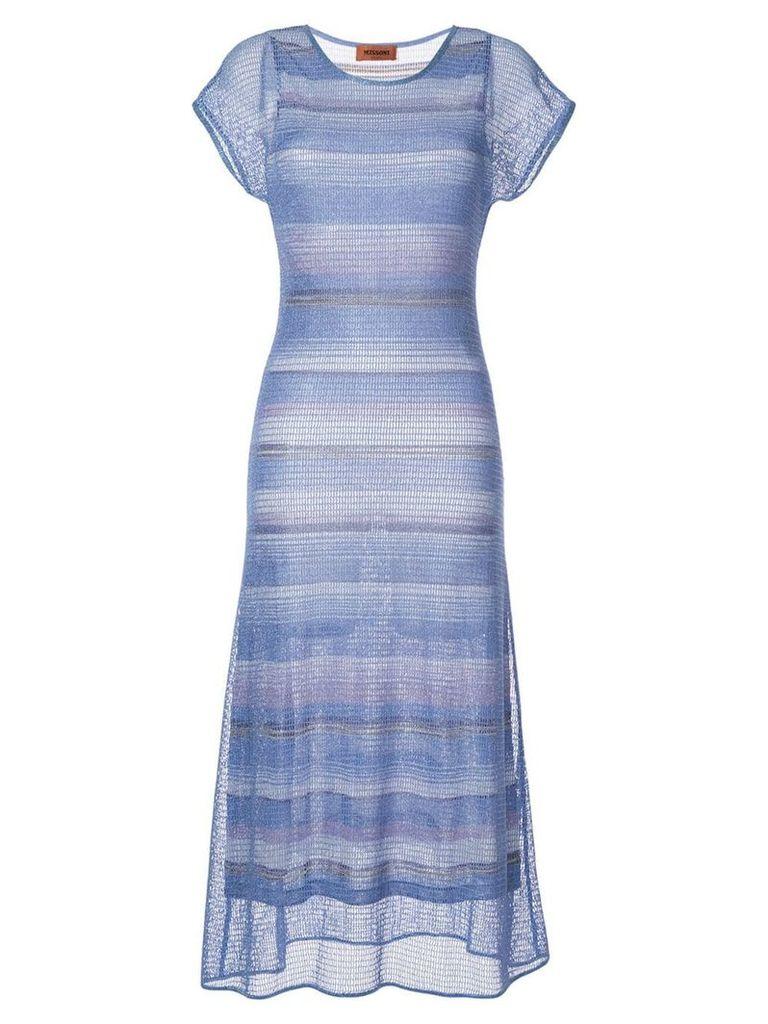 Missoni long knitted dress - Blue