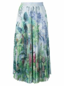 Red Valentino pleated floral midi skirt - Green