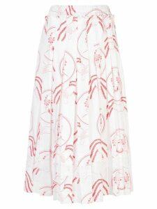 Simone Rocha printed pleated skirt - Red