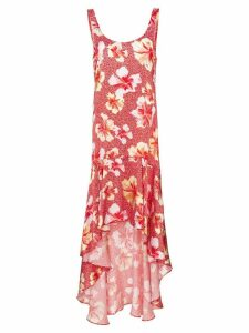 Onia martine hibiscus-print silk dress - Red