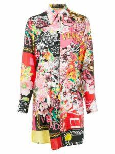 Versace floral mania shirt dress - Red