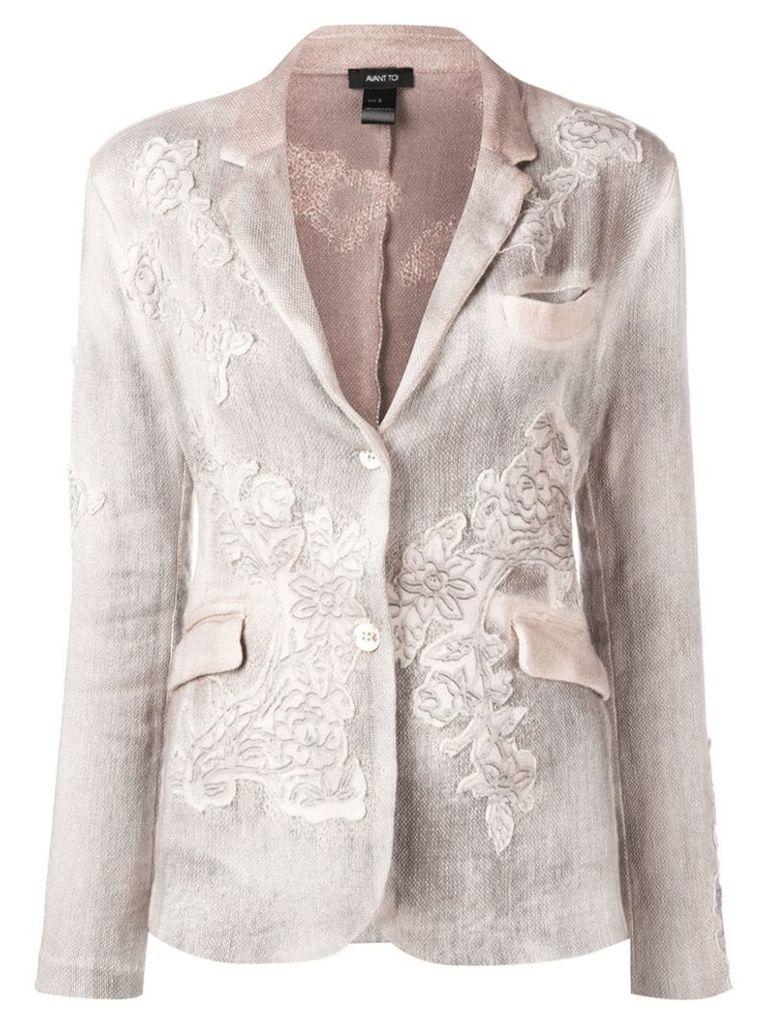 Avant Toi floral embroidered knit blazer - Neutrals