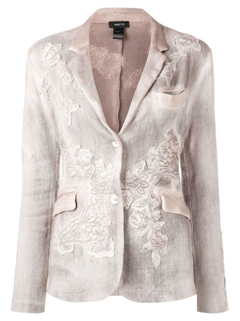 Avant Toi floral embroidered knit blazer - Neutrals