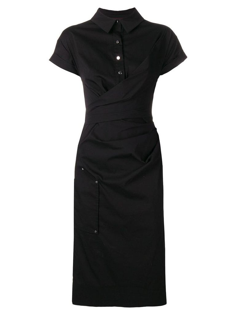 Talbot Runhof draped shirt dress - Black