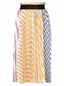 Nude pleated midi skirt - Multicolour