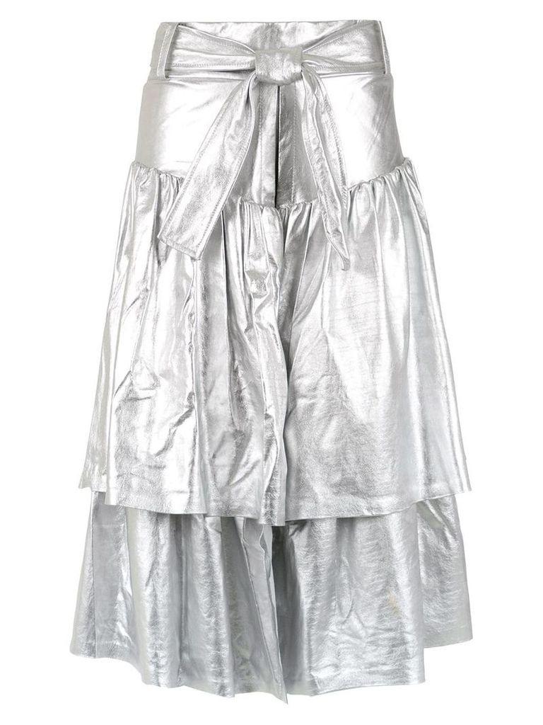 Andrea Bogosian leather midi skirt - Silver