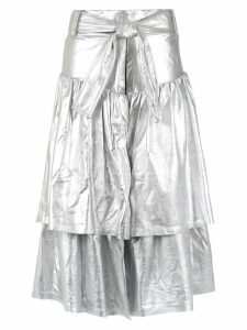 Andrea Bogosian leather midi skirt - Silver