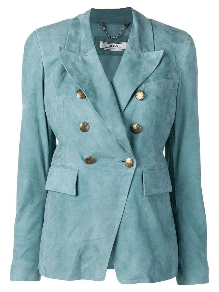Desa 1972 double-breasted suede blazer - Blue
