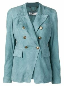 Desa 1972 double-breasted suede blazer - Blue