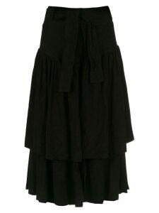 Andrea Bogosian ruffled suede skirt - Black