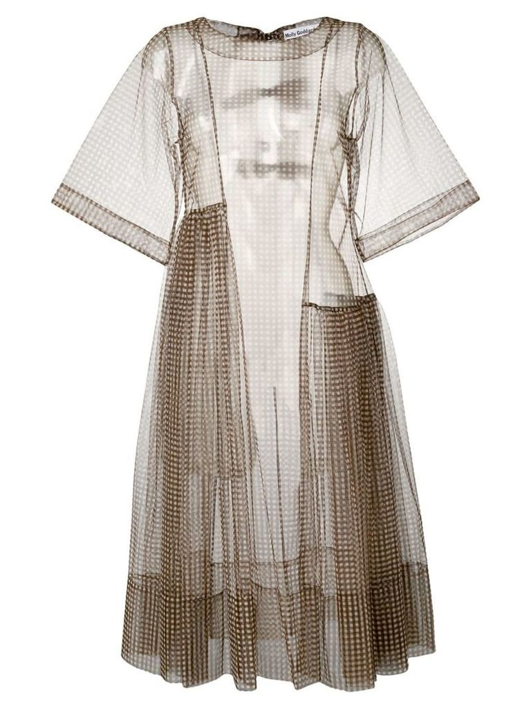 Molly Goddard gingham mesh dress - Brown