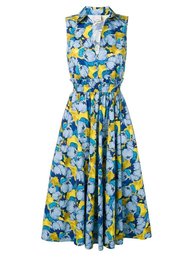 Pinko floral print flared dress - Blue